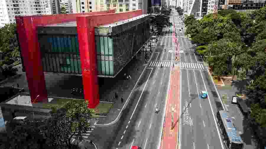 Foto aérea do Masp (Museu de Arte de São Paulo), na Avenida Paulista, durante a pandemia de coronavírus - Marcello Zambrana/AGIF