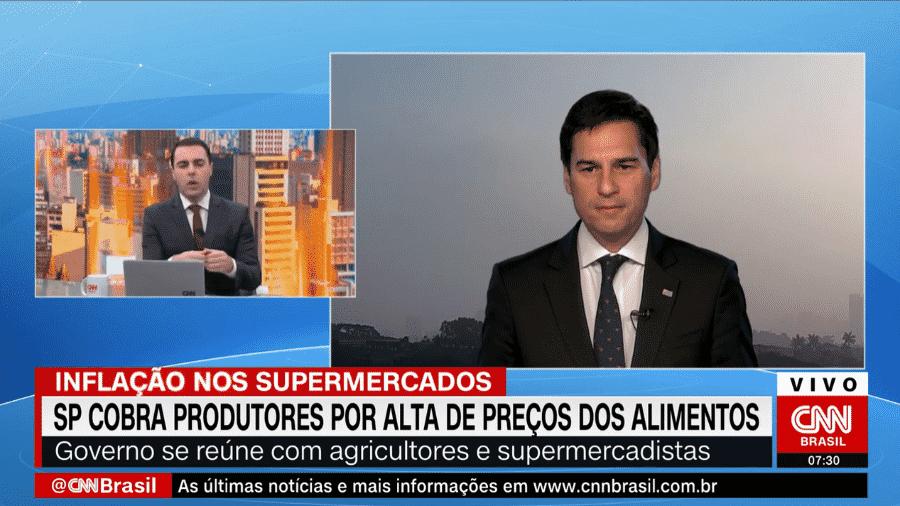 Secretário de agricultura e abastecimento de SP, Gustavo Junqueira, durante entrevista à CNN - Reprodução/CNN