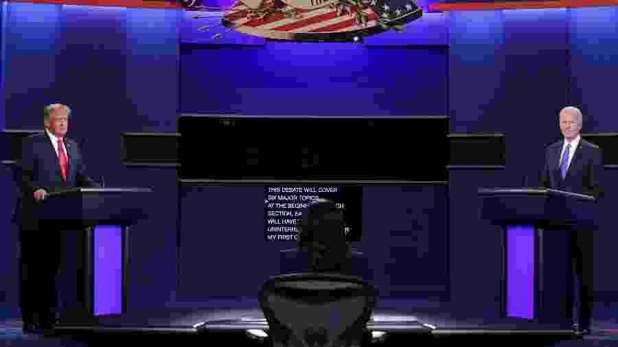 Donald Trump e Joe Biden participam de debate nos Estados Unidos - Chip Somodevilla / Getty Images / AFP