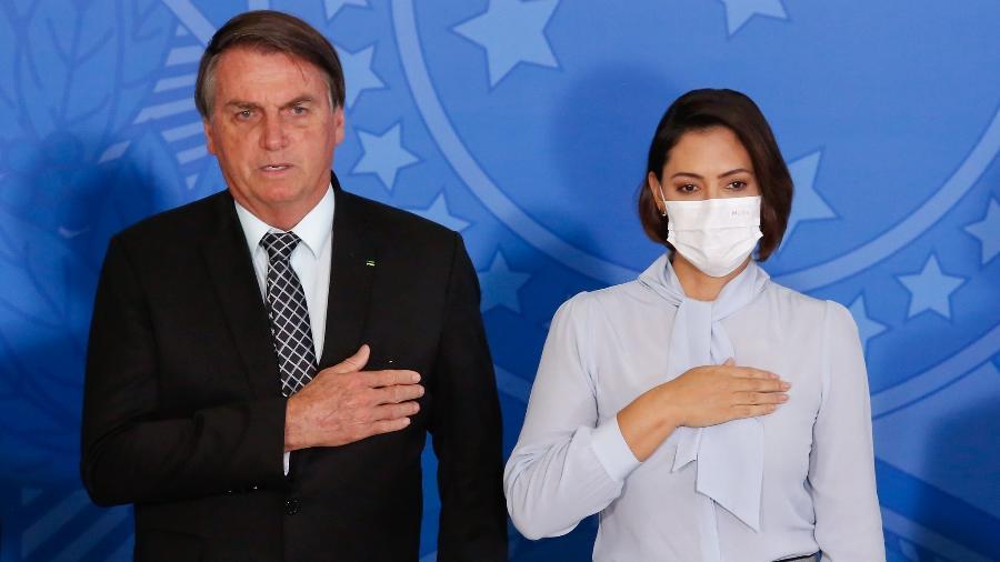 O presidente Jair Bolsonaro (sem partido) e a primeira-dama Michelle Bolsonaro - Anderson Riedel/PR