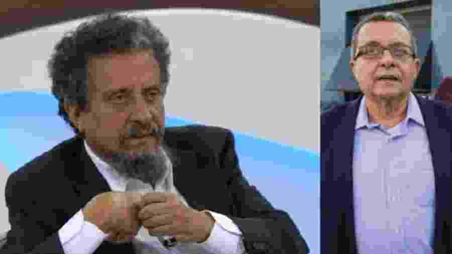 O marqueteiro João Santana no programa Roda Viva, no mês passado, e em 2016 - Reproduções