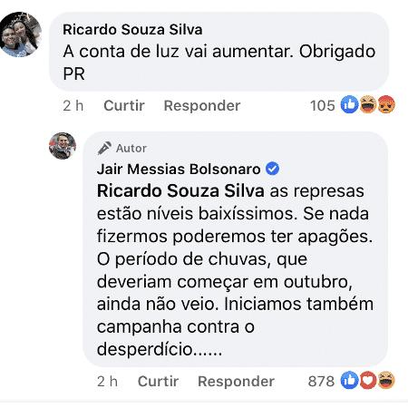 Presidente Jair Bolsonaro responde seguidor sobre aumento da conta de luz - Reprodução/Facebook - Reprodução/Facebook