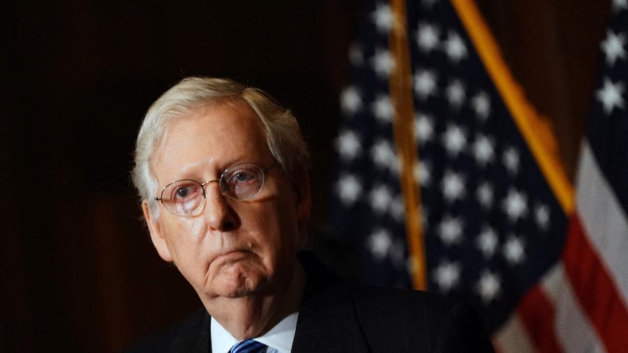 """Líder republicano no Senado dos EUA diz que Trump """"provocou"""" tumulto no Capitólio - Kevin Dietsch/Pool/AFP"""