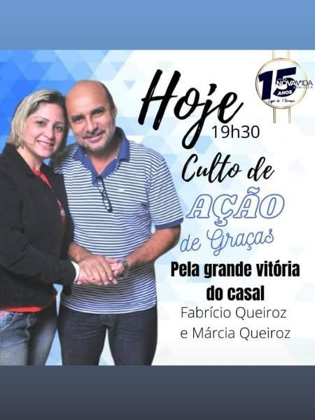 """Fabrício Queiroz e Márcia Aguiar celebram um culto de """"ação de graças"""" pela """"grande vitória do casal"""" - Reprodução"""