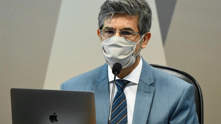 05.mai.2021 - Nelson Teich, ex-ministro da Saúde do governo Bolsonaro, em depoimento à CPI da Covid - Jefferson Rudy/Agência Senado