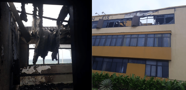 Incêndio destrói parte de hotel em Salvador; 70 pessoas são retiradas