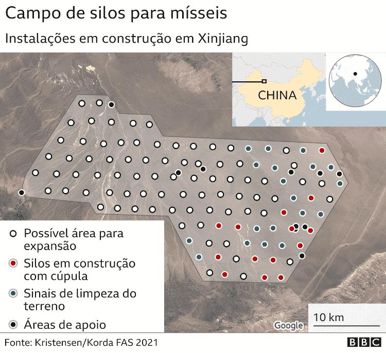 Arte mostra imagem de satélite com possível área de construção de silos - BBC - BBC