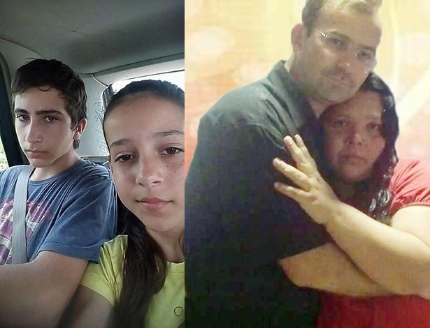 Os irmãos Thallysson, 17, e Natália Avante, 13, em foto do perfil dela no Facebook; à dir., o pai, Newton Avante, que também morreu em afogado em córrego em Bauru, no interior de São Paulo