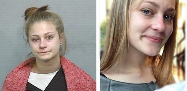 A jovem em foto divulgada pela polícia (à esq.) e a imagem que enviou pelo Facebook a uma emissora de TV  - Reprodução