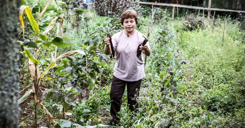 17.mar.2017 - Na horta, Tomi combina vários tipos de vegetais e observa se dá certo. A agricultora mostra duas etapas da berinjela japonesa, que ela acha mais suave do que a tradicional