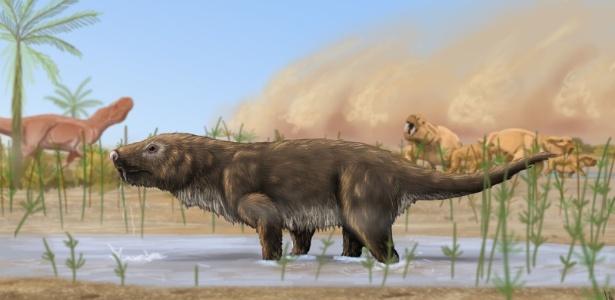 Reconstrução artística de um Aleodon cromptoni, com outros animais do período Triássico ao fundo