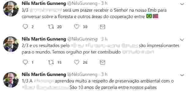 Tuítes de Nils Martin Gunneng, embaixador da Noruega - Reprodução/Twitter