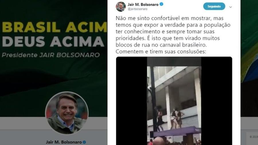 Postagem polêmica em conta de Bolsonaro foi apagada - Reprodução