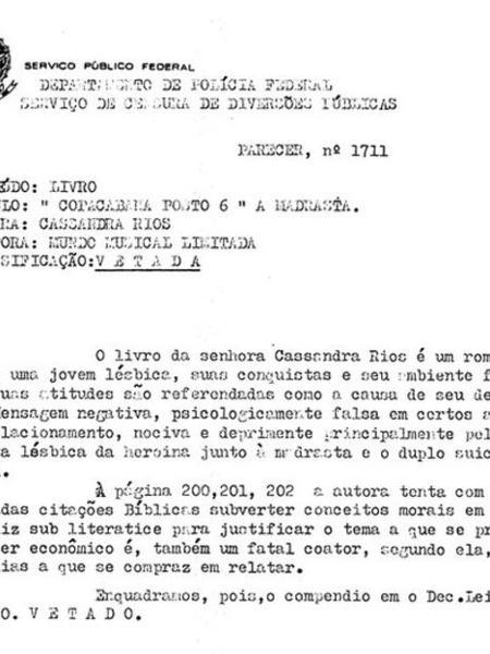"""Parecer de censor veta livro """"Copacabana Posto 6"""", de Cassandra Rios - Reprodução"""