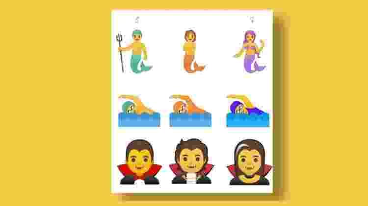 Os emojis do meio são alguns exemplos do gênero neutro - Reprodução/FastCompany