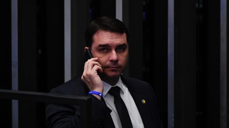 O senador Flávio Bolsonaro (PSL-RJ) no plenário do Senado, em Brasília - 01.out.2019 - Mateus Bonomi/Agif/Estadão Conteúdo