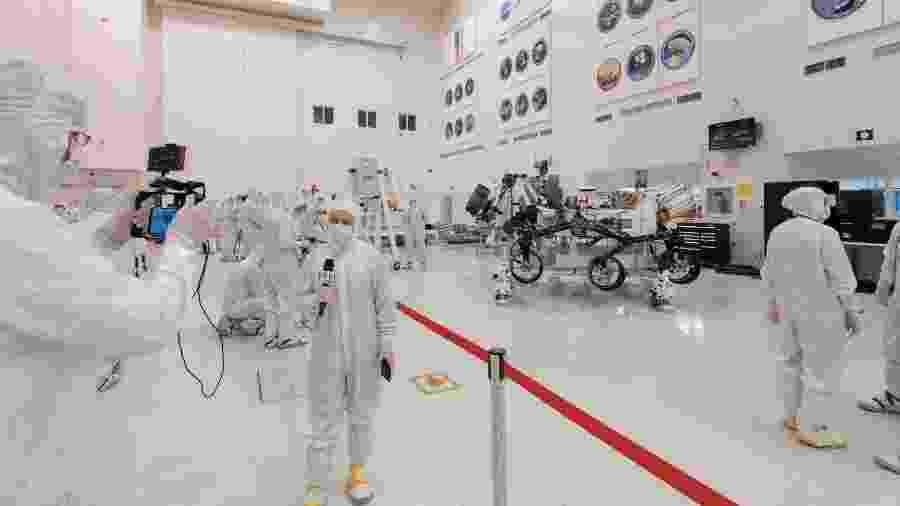 Com 3 metros de comprimento e 2,7 metros de largura, o Mars 2020 chegará ao solo marciano em fevereiro de 2021 - NASA/JPL-Caltech