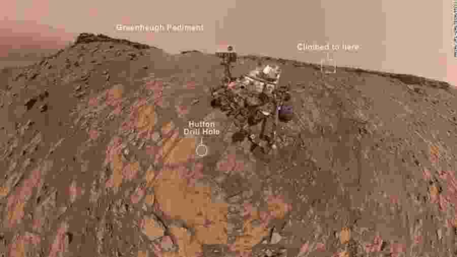 """A sonda Curiosity e sua """"escalada"""" em Marte - Reprodução/YouTube"""