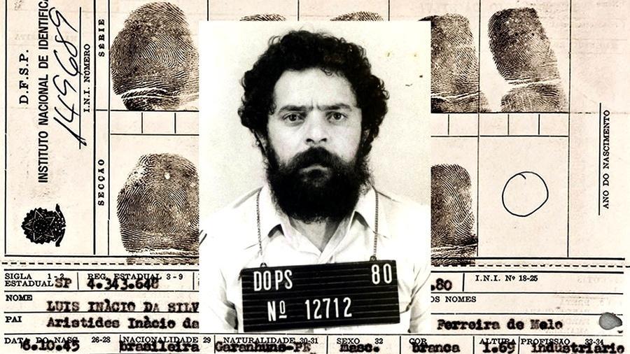 Fotografia oficial e prontuário preenchido por Lula quando preso no Dops de São Paulo, em abril de 1980