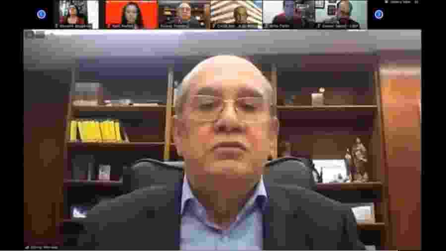 O ministro Gilmar Mendes durante live promovida pelo MST: uma proposta que tem tudo para fazer boa história - Reprodução/Youtube