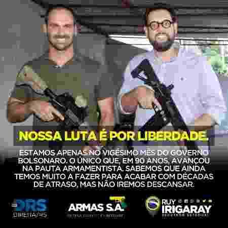 O deputado estadual Ruy Irigaray (PSL-RS), à direita do deputado federal Eduardo Bolsonaro (PSL-SP) - Reprodução/Rede social