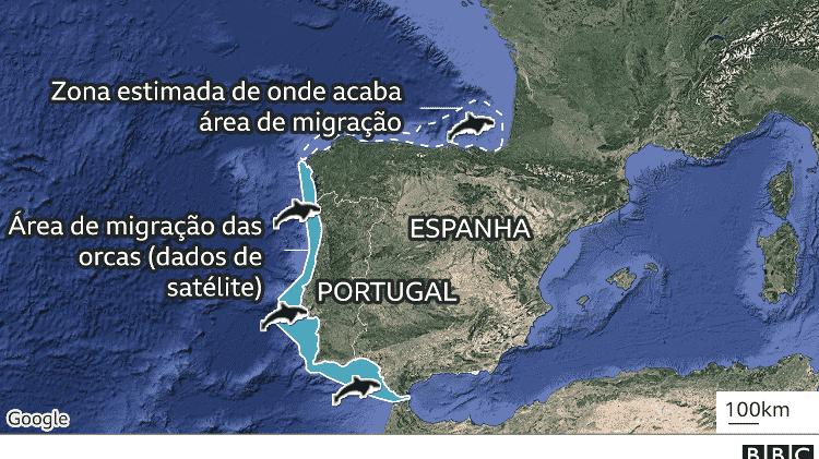 Mapa da área habitada pelas orcas - BBC - BBC