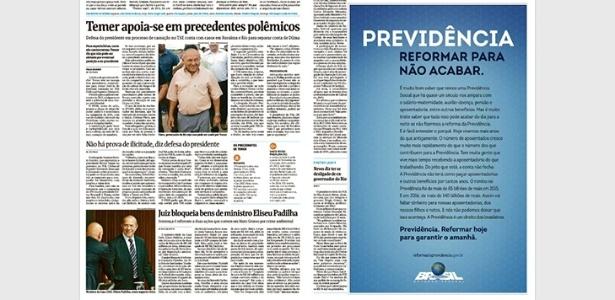 """Anúncio publicado nesta terça-feira (6) na """"Folha"""" defende reforma da Previdência - Reprodução"""