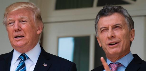 Donald Trump (esq.), presidente dos EUA, recebe o argentino Mauricio Macri