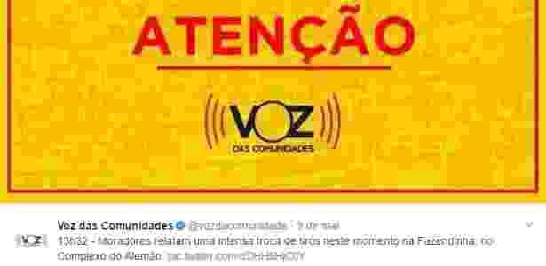 """Alerta feito no perfil """"Voz das Comunidades"""" no Twitter para moradores do Complexo do Alemão (zona norte) - Reprodução/Twitter - Reprodução/Twitter"""