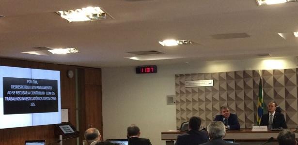 Marun faz críticas a Janot (na tela, à esq.) ao apresentar relatório final na CPI da JBS e diz que este desrespeitou o Congresso ao se recusar a depor na comissão