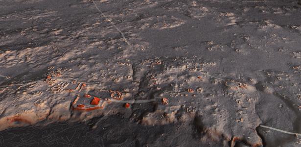 Simulação de visão aérea da cidade maia de Naachtun ao entardecer; cada ponto amarelo representa uma construção - Luke Auld-Thomas e Marcello A. Canuto/PACUNAM