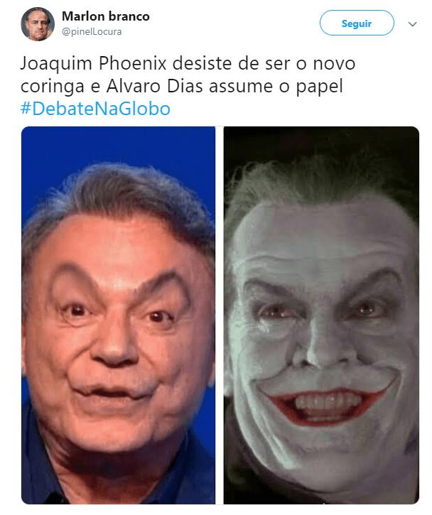 """Outro candidato que caiu nas graças do internauta foi Álvaro Dias (Podemos). Suas expressões faciais levaram muita gente a compará-lo com o Coringa, interpretado por Jack Nicholson no filme """"Batman"""", de 1989."""