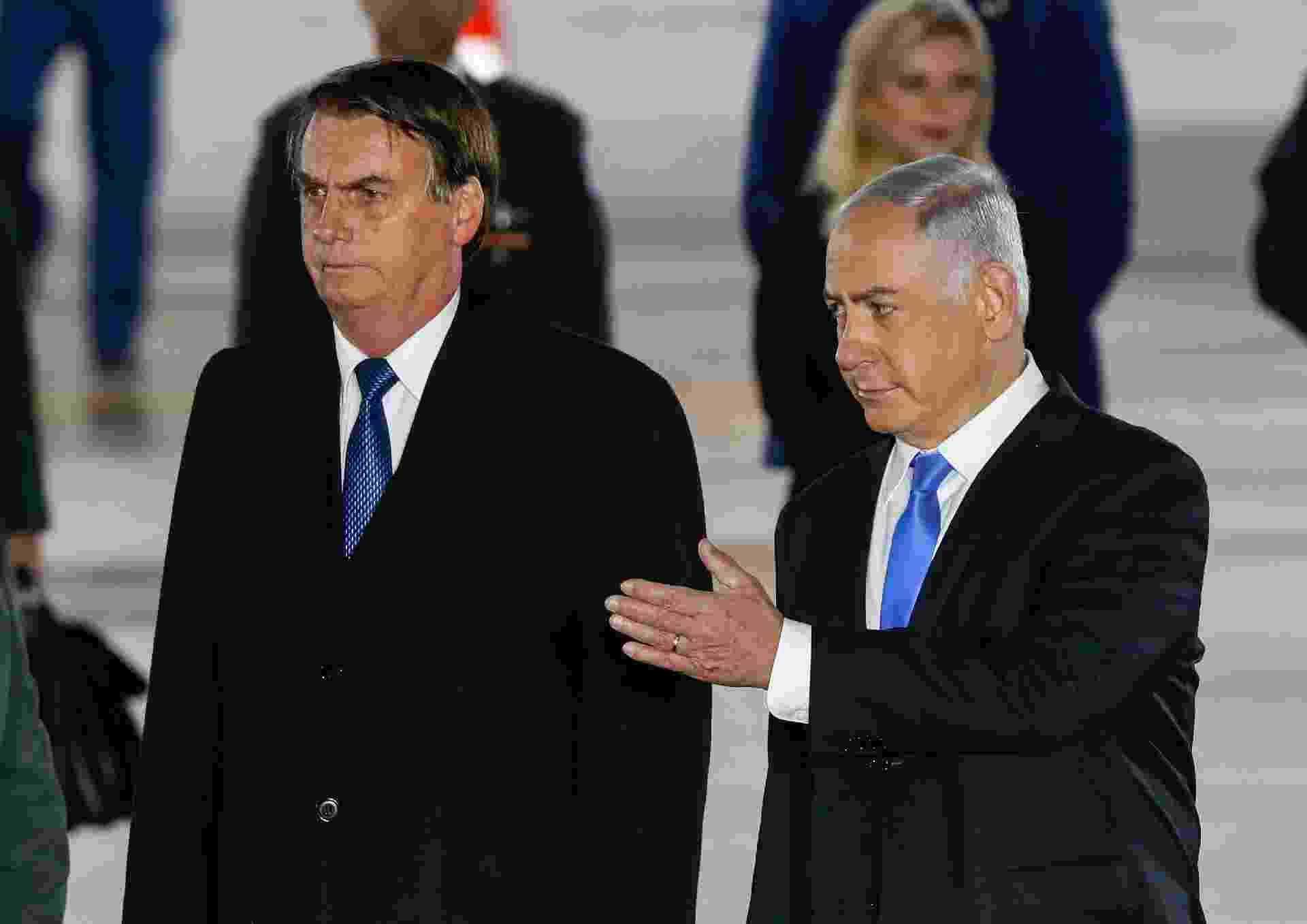 31.mar.2019  - Primeiro-ministro de Israel, Benjamin Netanyahu, e o presidente do Brasil, Jair Bolsonaro - Jack Guez/AFP