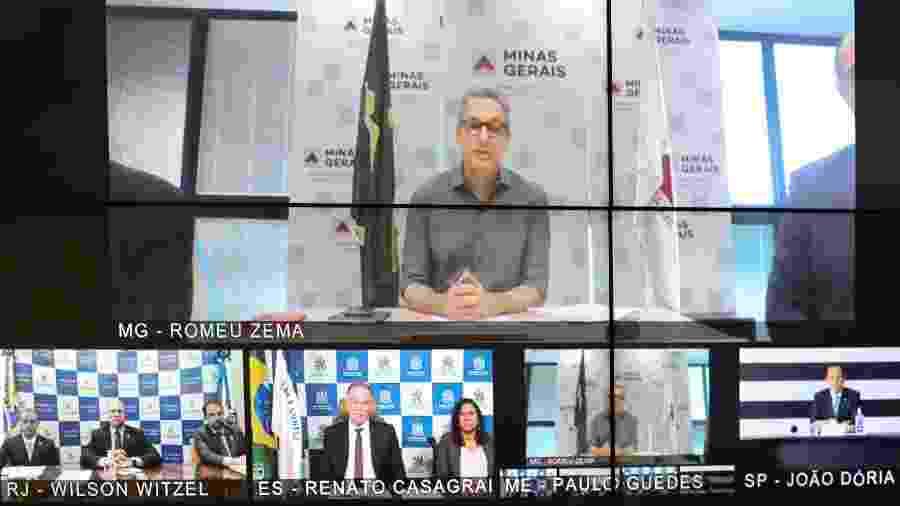 25.mar.2020 - Videoconferência entre o presidente Jair Bolsonaro (sem partido) e governadores do Sudeste - Marcos Corrêa/PR