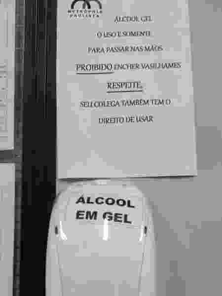 Viação Metrópole Paulista fornece 100 ml de álcool em gel a funcionários e não permite reposição - Divulgação - Divulgação
