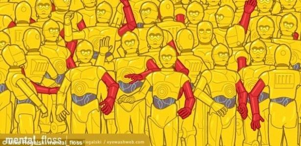 """26.fev.2016 - Ilustrador Michael Rogalski lança desafio da estátua do Oscar entre cópias do C-3PO de """"Star Wars"""""""