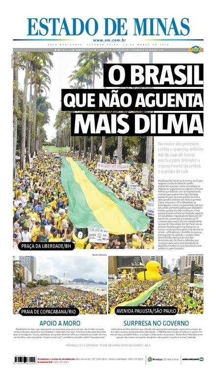 MG: Capa do jornal Estado de Minas de 14 de março de 2016