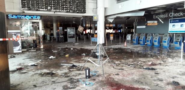 29.mar.2016 - Divulgadas novas fotos do aeroporto de Zaventem, em Bruxelas, na Bélgica, após as explosões terroristas que aconteceram há exatamente uma semana