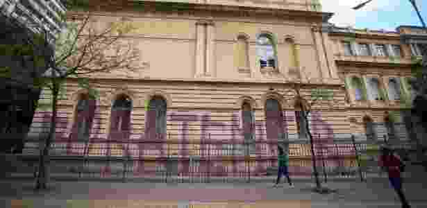 Sede da Secretaria da Educação foi pichada também - Diogo Moreira A2 IMG/Divulgação