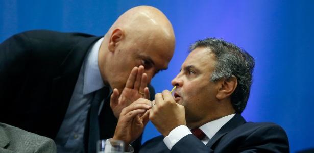 Moraes (esquerda) determinou votação aberta sobre medidas cautelares contra Aécio
