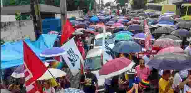 15.mar.2017 - Em São Luis, segundo informações da CUT, trabalhadores protestam em frente a uma agência do INSS - Reprodução/CUT Brasil - Reprodução/CUT Brasil