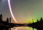 O fenômeno da coluna de luz violeta flagrado pela 1ª vez nos céus do Canadá (Foto: ESA)