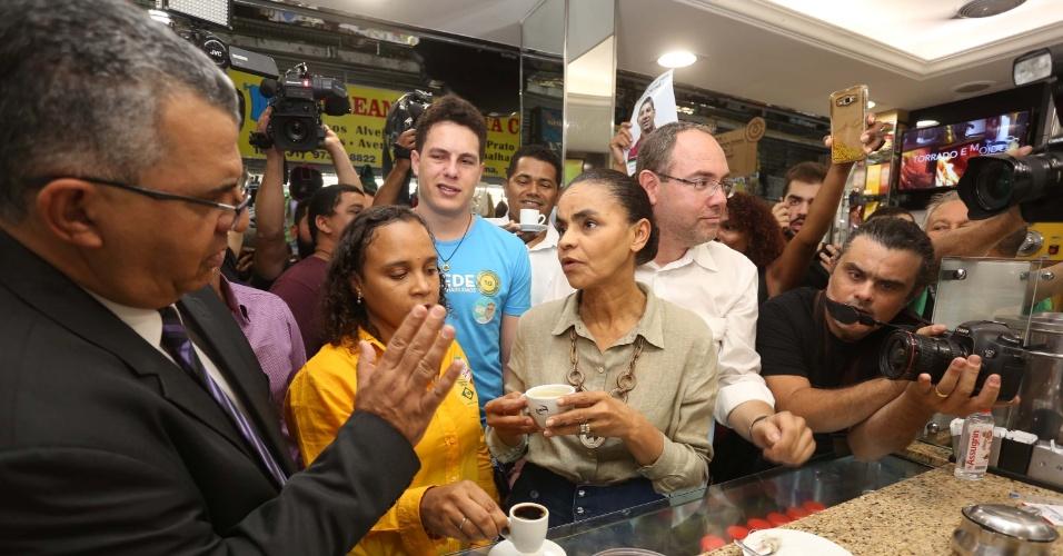 12.set.2018 - Candidata da Rede à Presidência da República, Marina Silva durante caminhada da Praça 7 ao Mercado Central em Belo Horizonte (MG), nesta quarta-feira