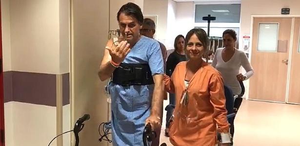 Resultado de imagem para Bolsonaro aparece em vídeo caminhando em hospital