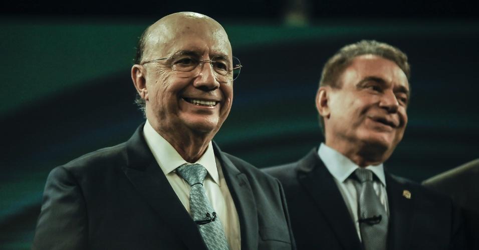 4.out.2018 - Henrique Meirelles e Alvaro Dias durante o debate da TV Globo
