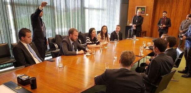Grupo eleito pela sigla aproveitou para levar reivindicações a Rodrigo Maia (DEM-RJ) - Novo/Divulgação