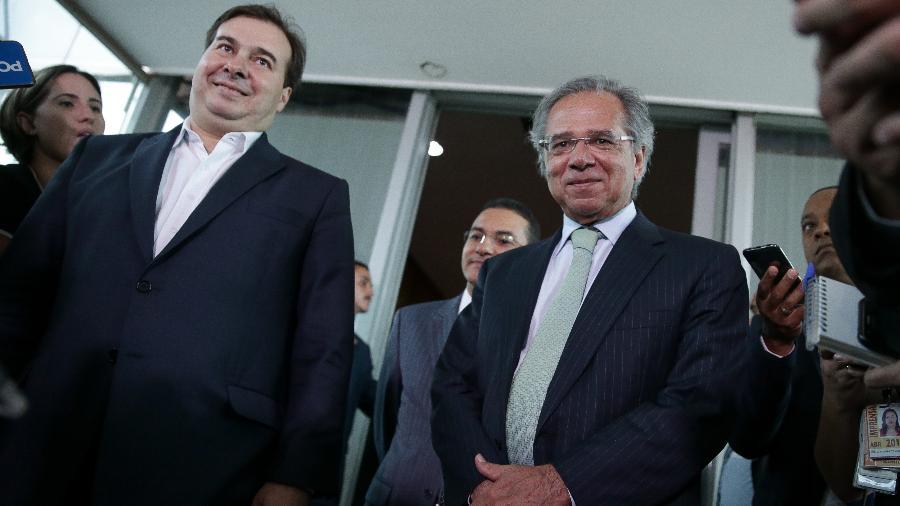 Rodrigo Maia e Paulo Guedes, em encontro no início do ano - Pedro Ladeira/Folhapress