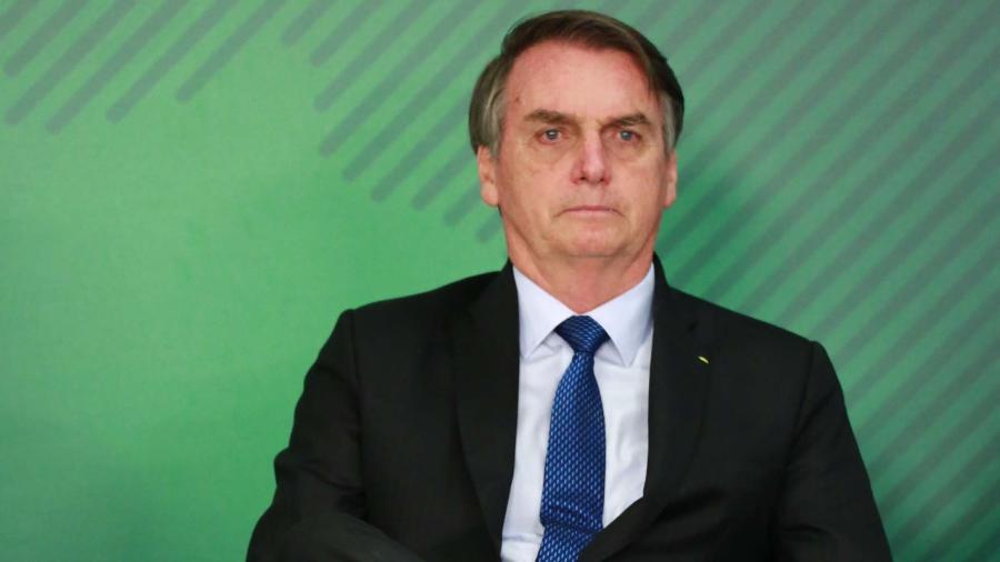O presidente Jair Bolsonaro durante a Solenidade de Sanção da Lei de Cadastro Positivo no Palácio do Planalto em Brasília (DF) - 08.abr.2019 - Fátima Meira/Futura Press/Estadão Conteúdo