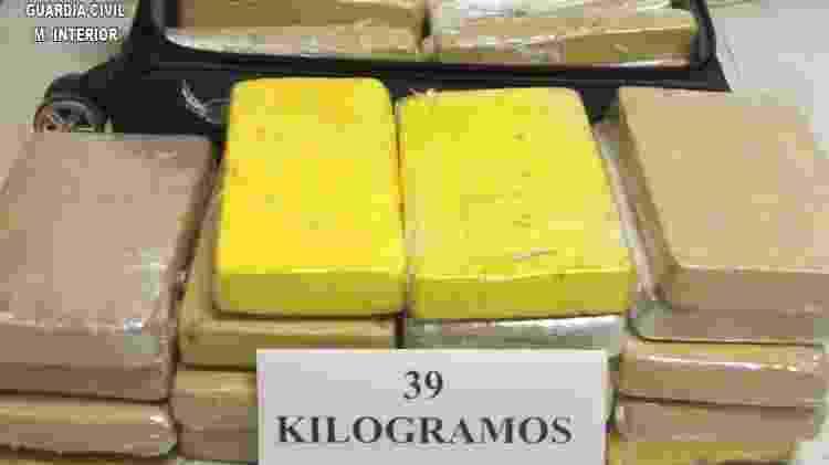 A Guarda Civil da Espanha considerou que havia 39 kg de drogas. O MP Militar no Brasil aponta que são 37 kg com sargento da FAB - Divulgação/Guardia Civil - Divulgação/Guardia Civil