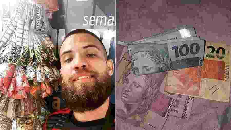 Ambulante Phellipe Guimarães recebeu nota de R$ 100 em vez de R$ 2 - Reprodução/Redes sociais
